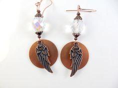 Copper angel wing earrings by jewelryandmorebykat on Etsy