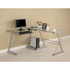 Corner Computer Desk Home Office Clear Glass Top Sturdy CPU Stand Keyboard Tray #WEF #Contemporary