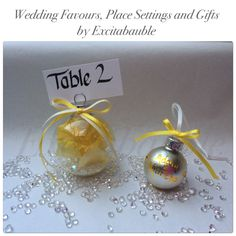 Yellow, daffodil Personalised glass Wedding Favours, Table Settings and Gifts www.excitabauble.co.uk