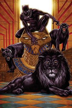 """redskullsmadhouse: """"  Black Panther cover step 9 by Mark Brooks """""""