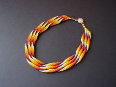 Tribal Beaded Rope Collar Necklace by RareSpecimens on Etsy.