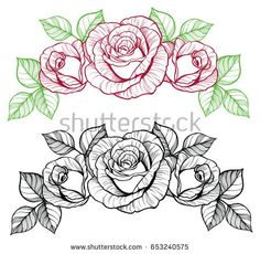 I quite simply adore the hues, lines, and linework. This is a superb layout if . I quite simply adore the hues, lines, and linework. This is a superb layout if you really want a Traditional Tattoo Art, Traditional Roses, Rose Line Art, Silouette Art, Deer Skull Art, Old School Rose, Rose Drawing Tattoo, Rose Outline, Rose Stencil