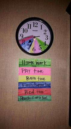 Scheduling the kids activities during the school week. (Vary times depending on your families schedule.)