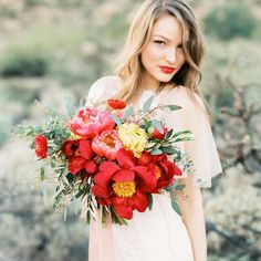Red peonies + red lipstick = perfection! ❤️Totally in love with this dreamy image by @sarahasstedt  #Repost Floral styling: @sarahsgardenstyle | muah: @beautybyjessicagallegos | dress: @ruedeseinebridal from @aandbe_bridalshop #bmloves #florals #bouquet #redlipstick #bride