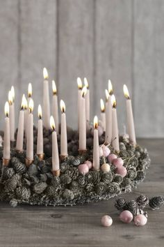 ♕ candles and pine cones