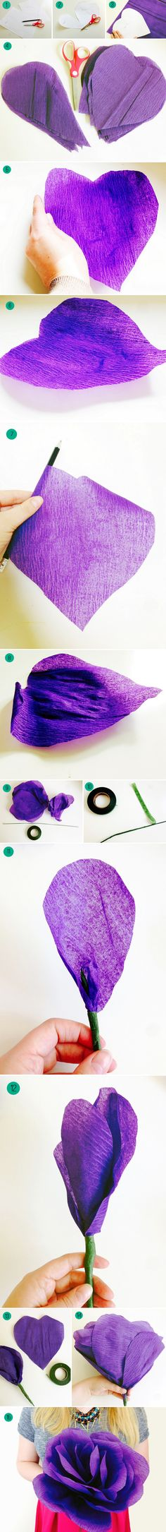 Steps for paper roses DIY by Bespoke Bride