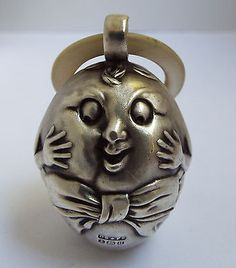 LOVELY RARE ENGLISH ANTIQUE 1919 SOLID STERLING SILVER HUMPTY DUMPTY BABY RATTLE