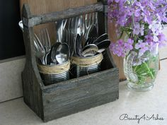Cans Repurposed to Silverware Holders