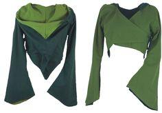Elfen Weste mit Zipfelkapuze dunkelgrün