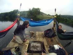 INSPIRING - Kendall Edkins and his pals, who spent a 4 man, 3 day trip on the Connecticut River, that forms the border of New Hampshire and Vermont, on their self-made raft complete with fire pit and ENO hammocks for paddling and sleeping!