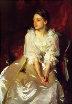 John Singer Sargent. This is how a master paints.  Look at those hands, the fabric, the face, the spirit.