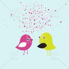 Two cute birds in love in cloud of hearts