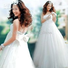 Wholesale Prom Dress - Buy Ivory Strapless Wedding Dresses Empire Waist Bodice Bow Back Applique Tulle Skirt, $136.34 | DHgate