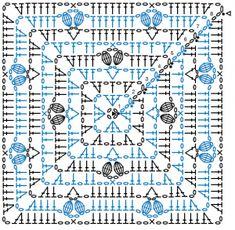 Crochet Bunny Pattern, Crochet Mandala Pattern, Crochet Square Patterns, Crochet Diagram, Crochet Chart, Thread Crochet, Crochet Stitches, Motifs Granny Square, Crochet Granny Square Afghan