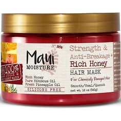 Maui Moisture Strength & Anti-Breakage Rich Honey Hair Mask is infused with rich honey, hibiscus & pineapple oil. It's gentle enough for fragile strands while increasing elasticity & helps resist breakage. Hair is left tangle free with a healthy shine. Agaves, Pineapple Oil, Maui Moisture, Pure Coconut Water, Curly Hair Styles, Natural Hair Styles, Natural Beauty, Coconut Oil Hair Mask, Hair Masque