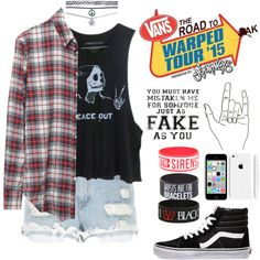 Warped Tour '15 by ohmyespinosa on Polyvore featuring polyvore, fashion, style, Band of Outsiders, River Island, Vans and Wet Seal