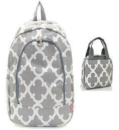Grey & White Geometric Backpack W Matching Lunch Bag   #NGIL #LunchBag