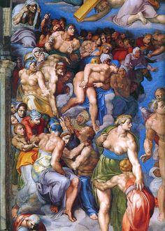 Pictures From The Sistine Chapel Rome by Michelangelo - The last judgement (detail)