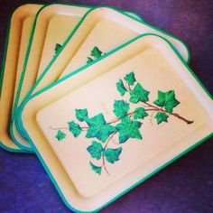 Lovely set/4 mid century serving trays with ivy pattern, $22. Venice location.