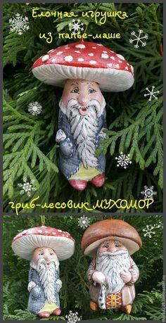 Гриб-лесовик Мухомор Новогодняя игрушка из папье-маше Цена 3000 руб./1 шт