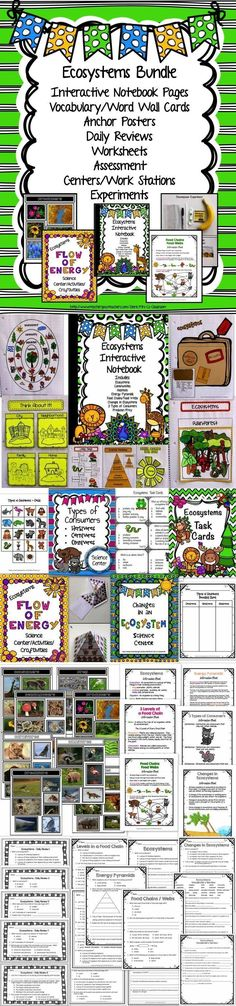 GREAT VALUE!  This ECOSYSTEMS BUNDLE has an interactive notebook, centers/work stations/experiments, daily reviews, anchor posters, real-life picture collages, worksheets, pre/post assessment and vocabulary cards for ecosystems, communities, population, habitats, food chains/webs/pyramids producers, consumers, decomposers, predator, prey, carnivores, herbivores, omnivores, primary, secondary, and tertiary consumers, and changes in the ecosystem.
