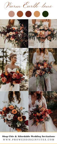 Burnt Orange Weddings, Orange Wedding Flowers, Fall Wedding Bouquets, Fall Wedding Colors, Wedding Color Schemes, Floral Wedding, Bridal Bouquets, Bohemian Wedding Flowers, Rustic Bohemian Wedding