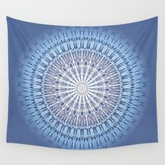 Available in three distinct sizes. This Wall Tapestry is durable enough for both indoor and outdoor. #blue #mandala #medallion #digital #geometric #baydur
