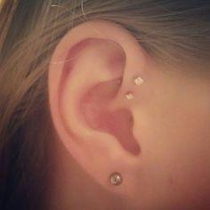 My next piercing will be a single forward helix! Ear Peircings, Ear Piercings Tragus, Cute Piercings, Piercing Tattoo, Body Piercing, Double Forward Helix Piercing, Helix Ear, Feminine Tattoos, Skin Art
