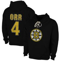 Mens Boston Bruins Bobby Orr Old Time Hockey Black Malcolm Skate Lace Alumni Hoodie