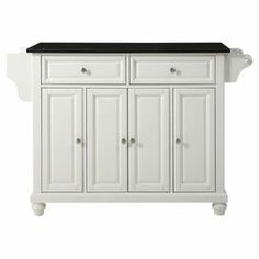 """Wood kitchen island on locking casters with 4 doors and 2 drawers. Features interior shelving, a spice rack, and towel bar.    Product: Kitchen island Construction Material: Solid hardwood, veneer and granite Color: White and black  Features: Two deep drawers Raised panel doors  Two deep drawers  Locking casters Spice rack with towel bar  Dimensions: 36"""" H x 51.5"""" W x 18"""" D"""