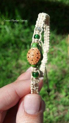 Sea Turtle Hemp Bracelet Adjustable by CrescentMoonLight on Etsy, $6.95