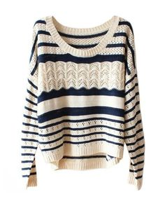 Navy & Cream Stripe Knit Batwing Sweater #jumper #winter #comfy
