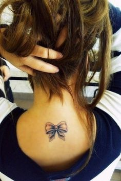 Bow Neck Tattoo #tattooideaslive #bow #neck #tattoo