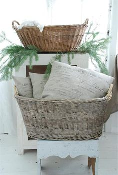 french market baskets....my twin brother & sister were brought home from the hospital in baskets just like this in 1954