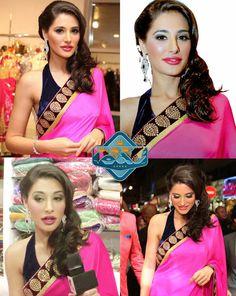 USD 52.4 Nargis Fakhri Pink Chiffon Saree  35963