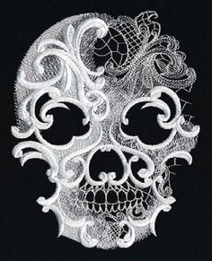 RQQ™ Skull Halloween white on black embroidered fabric quilt block square