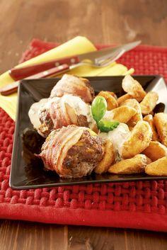 Jauheliha-pekonipihvit ja kermaviilikastike
