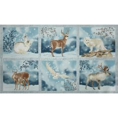 """Kaufman Winter White Metallic 24 In. Panel Frost from @fabricdotcom  Designed by Lynnea Washburn for Robert Kaufman, this cotton print is perfect for quilting, apparel and home decor accents. This panel measures 24"""" x 44"""". Colors include shades of brown and shades of blue with silver metallic accents."""