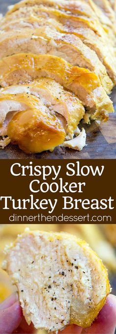 Crispy Slow Cooker Turkey Breast - Dinner, then Dessert Crispy Slow Cooker Turkey Breast takes all the effort and guesswork out of preparing healthy turkey breast and is perfect sliced thinly in sandwiches. Never pay for turkey deli meat again! Slow Cooker Turkey, Crock Pot Slow Cooker, Cooking Turkey, Crock Pot Cooking, Pressure Cooker Recipes, Crockpot Meals, Crock Pot Turkey, Pressure Cooker Turkey, Slower Cooker