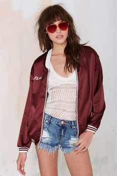 Maison Scotch Aloha Satin Bomber Jacket
