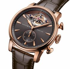 Arnold & Son Royal TEC1, which combines a tourbillon and column-wheel chronograph, with the automatic Caliber A&S8305. It is inspired by the early part of brand founder John Arnold's early timepieces created for the British royal court. The case is 18k gold and the dial is anthracite colored. (via HauteTime)