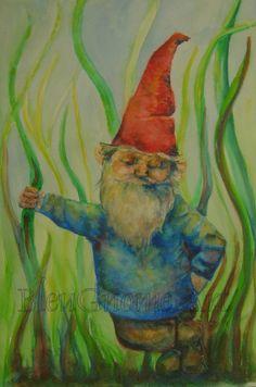 Content Gnome Print by BleuGnome on Etsy, $20.00