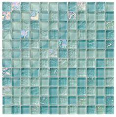 NEW IRIDESCENT TEAL GREEN REFLECTIVE GLASS MOSAIC BATHROOM SOAP DISPENSER