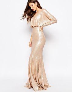 Forever Unique @ ASOS Bodycon Tempest Fishtail Sequin Maxi Dress UK 8/EU 36/US 4