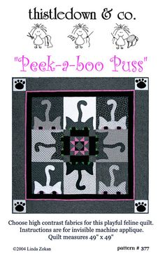 PeekaBoo Puss   kitty cat quilt pattern by Planetpollyanna on Etsy, $10.00