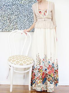 White maxi dress with pretty floral motif, paired with lace blouse <3 | ish & chi