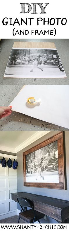 Blow up a picture and build a custom frame for about $20! Free plans and how-to at www.shanty-2-chic...
