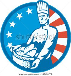 American Chef Baker Cook With Basket Loaf Bread #baker #laborday #retro #illustration