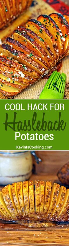 This seasoned Hasselback potato turns out crispy on the outside and tender on the inside everytime! Great kitchen hack, almost like thick potato chips.