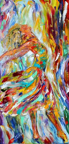 Original oil painting Dancer Abstract figurative by Karensfineart